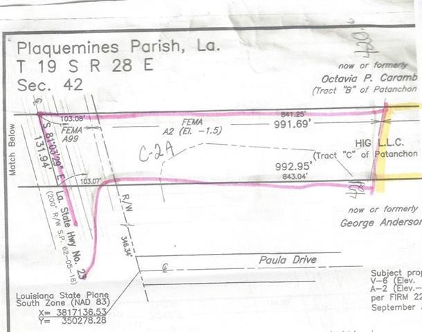 """HWY 23 BACK TOWARDS HWY 11 """"C-2A"""" Highway, NAIRN, LA 70050"""