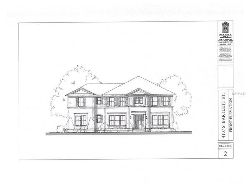 Pre-construction, home is to be built. Tampa Bay is in eye site of this new construction. This home is located on Bartlett Street which is a north south street between Bayshore and MacDill. Rare new construction near the bay in the Roosevelt, Coleman and Plant School district. Wonderful floor plan on a lot that allows for a side entry garage. Walkable to many restaurants and so close to the Bayshore. Two story block construction, downstairs guest master, four upstairs bedrooms and play area. Bayfair finishes you would expect including cased openings, crown moldings, wainscoting, outdoor kitchen, large covered lanai, professional appliances, 8 x 14 outdoor accessible a/c storage area and much more. Custom home with ability to make changes to the plans and specifications. Price anticipates buyer originating construction to perm loan.