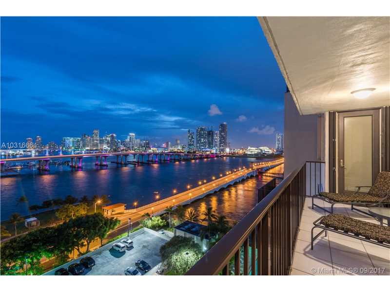 Southwest, downtown, and sunset views from every room on the corner of the 12 floor. Foyer entry, updated kitchen & baths, split bedroom plan, impact windows, wraparound balcony, guard gated building offers day dock, pool, & tennis. Amazing location, convenient to many restaurants, museums, Metrorail, Arche Center, AAA Arena. Minutes to South Beach, Port of Miami. No Pets.