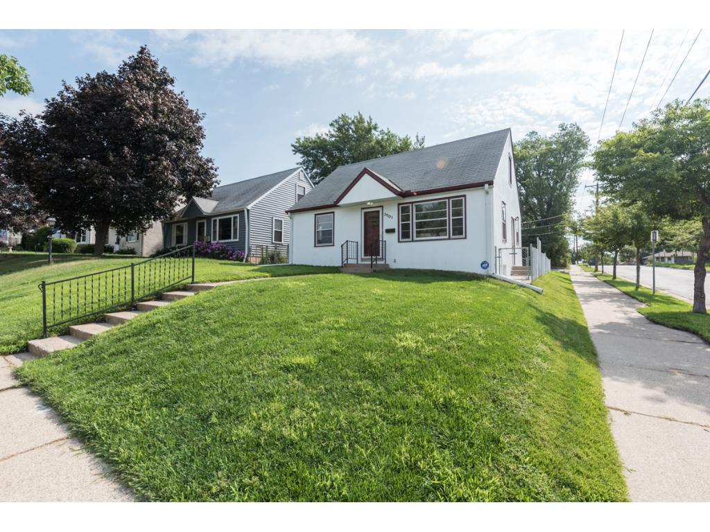 Nice 1.5 story w/updates! Mins from St. Anthony Pkwy & Mississippi River. Hi-View Park across the street! New interior & exterior paint, lighting, hardware, flooring + refinished hardwd flrs. Living rm w/coved ceiling, floating shelves & large window. Eat-in kitchen w/new SS appls & new flooring. 2 main lvl BRs + full BA. Charming UL Master BR. Spacious LL family rm. New LL & BR window in '11. Drain tile in '14 w/battery back-up in '16. Patio & 2-car detached garage. 10 mins from Downtown!