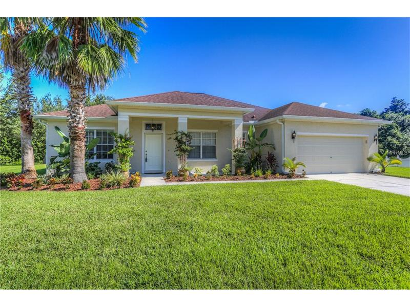 Stunning David Weekley 4 bedroom, 3 bathroom home with nearly 2600 sf on an oversized POND and CONSERVATION lot at the end of cul-de-sac, in Panther Trace! NEW Lennox 15 SEER A/C 2017!  New full Seamless Gutters! Gleaming 18