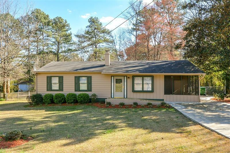 Renovated Ranch with Relaxing Screen Porch.  Updated Kitchen and Bath. Fresh Paint inside and out.  New Carpet, Light Fixtures.  Large separate Laundry room and extra room for additional bath. Large fenced Backyard with Two Storage Buildings.  Easy drive to Downtown Decatur, Emory, CDC and Northlake Mall.  Easy access to 85 and 285. Will not last long!