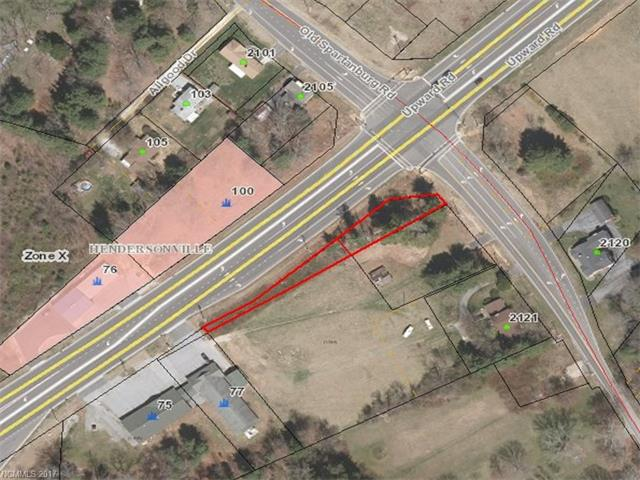 Highly visible corner lot on high traffic count area of Upward Road between I-26 and U.S. Highway 176. Narrow lot with extensive road frontage. Uses are limited due to lot size and width; could provide a very visible sales lot.