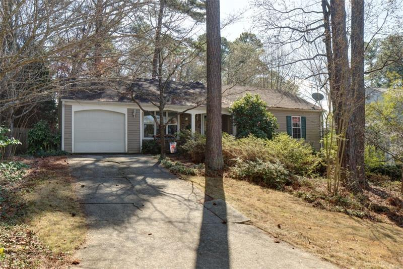 Quaint ranch home on cul-de-sac with lots of character!  Hardwoods throughout, kitchen with eat in area, built in bench with storage.  3 bedrooms/2 baths.  Private wooded lot with lots of outdoor entertaining space - covered patio and fenced yard.  Great location - next to shopping and resturants and perfect for the 1st time home buyer!