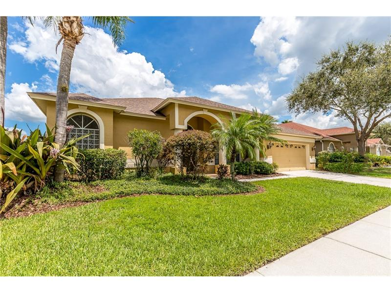 Great opportunity and Move in Ready 4 bedroom, 3 bathroom, 2 car garage POOL HOME in sought after GATED KINGSHYRE in the heart of New Tampa! New roof (June 2017) Tropical landscaping and double door entry invite you into this light bright open floorplan with high ceilings, formal living & dining area, Split Bedroom Plan, and spacious kitchen with eat-in area and breakfast bar open to the family room. Living room, kitchen, family room and master bedroom all overlook the sparkling pool area for easy entertaining both indoors and outdoors. Spacious master suite has garden tub, separate shower, dual vanities & private lanai access. Privacy abounds with the three way split floor plan. Gated and private, Kingshyre enjoys the lower taxes of unincorporated Hillsborough county, no CDD fees, and low HOA fees. Walking distance to top rated Pride Elementary and Benito Middle schools, close to sports fields, New Tampa Library! Convenient to I-75, USF, Moffitt, VA and Florida Hospitals, DTCC, USAA, Shops of Wiregrass.