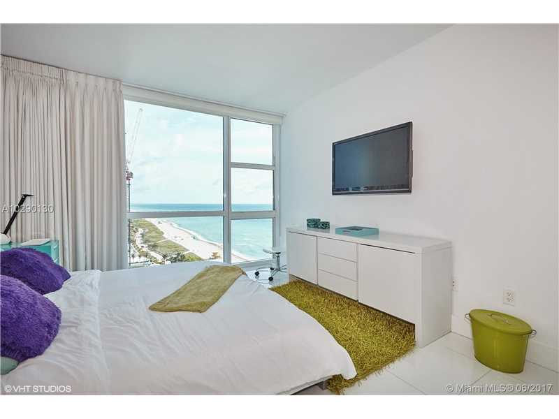 Lowest Priced Ocean View 1 Bedroom at Carillon. Enjoy this bright fully furnished pied-a-terre with full access to the fabulous 70,000 spa/fitness with daily classes, multiple restaurants/bar, full service on the beach, access to boardwalk. Unit has top of the line kitchen with Sub-Zero, Miele appliances. Master bath with soak tub and separate glass enclosure shower. Gorgeous beach views from every room. Solar shades and black out draperies in Master bedroom. Spa membership for two including any restauran