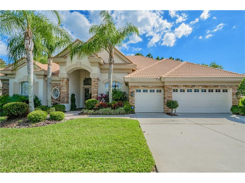 """Gorgeous 4 bedroom, 3 full bath, PLUS Bonus Room located on a conservation lot in the desirable gated Harbor Links Community in Westchase. The beautiful etched and carved glass Double Entry Doors lead into a home complete with many features including niches, shelving, crown molding, tray ceilings, volume ceilings, double sided fireplace, and custom faux painting. The Kitchen features granite counters, stainless steel appliances, huge island with cabinets on both sides, eat at breakfast bar and a breakfast nook with gas fireplace and aquarium window overlooking the lanai and pool. The Family Room has surround sound, custom shelving with 60"""" opening for TV, triple sliding doors leading out to lanai and pool deck. The screened in pool is accented with tropical and lush landscaping. The east side of the house has a solar shield for the windows. The screens on the west side of house are part of the security system. Newere Dual AC units - 3 ton AC installed on 7/11/12 and a 4 ton unit on 6/28/16. Don't miss out on this beautiful home."""
