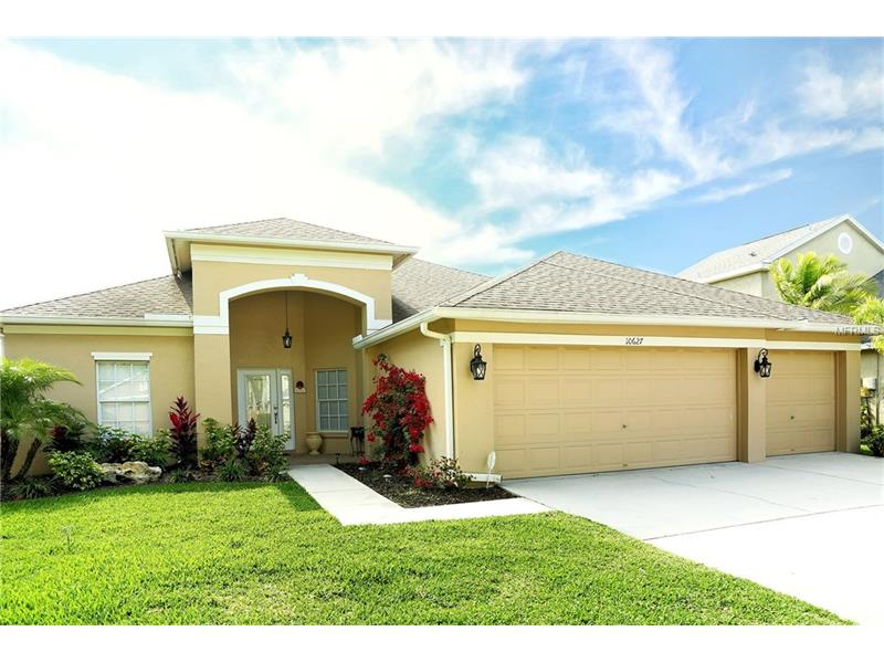 NEW LISTING-BEAUTIFUL home in The Fords of Westchase. FRESHLY PAINTED AND LANDSCAPED. 3 Bedrooms, 3 Baths, Pool/Spa, and a 3 Car Garage.  2011 built swimming pool / spa, featuring brick pavers, screen enclosure, custom water features. This is a split floor plan which maximizes privacy for all family members. The Kitchen boasts SS appliances, Gas Stove, walk-in pantry, all wood cabinets, and granite (Red Diamond) counter-tops. The Kitchen, Great Room, Breakfast nock, and Dinning are all one great area. Great for entertaining or just hanging out with the family. Cherry Hardwood floors cover the main living areas. The Master Bedroom boasts hand-scraped Hardwood flooring and a 10x10 sitting area that overlooks the back patio and swimming pool. The Master Bath features dual vanities (one with a sitting station), garden tub, and a Huge walk-in closet. Both secondary bedrooms have walk-in closets and their own dedicated bathrooms.NEW FRONT DOOR! This home is very close to Westchase Town Centers, Westchase Elementary and Davidson Middle. Come enjoy all that Westchase has to offer; 2 heated community swimming pools, 2 playgrounds, nature trails, tennis courts, Basketball courts picnic pavilions, and more.