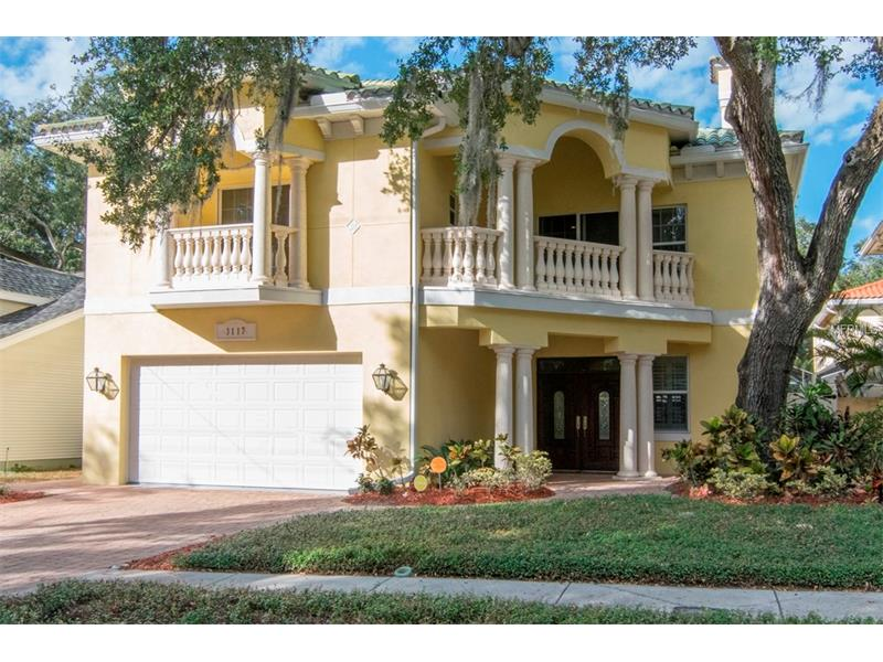 Come home to this beautiful, custom-built solid block Mediterranean pool home with a tile roof, four bedrooms and three baths upstairs and a powder room on the first floor.  Enjoy cooking in the spacious kitchen with solid wood cabinets, prep island, gleaming stone countertops, double ovens, oversize refrigerator and walk-in pantry.  The open floor plan loaded with upgrades is great for entertaining inside or out.  Serve your guest from the separate butler's pantry featuring a wet bar.  Swim in the heated pool and hot tub all year around while enjoying the screened lanai with outdoor kitchen. No detail was overlooked. Crown molding throughout, gas fireplace in the family room, stunning staircase and three walk-out balconies, just to name a few.  The oversized owner's suite features a gas fireplace, jetted tub, double vanities and a spacious walk-in closet.  This home is not in a flood zone and just steps away from the beautiful Bayshore Boulevard.  Conveniently located to the Tampa Yacht and Country Club, Ballast Point Park and fishing pier, MacDill Airforce Base, Tampa International Airport, shopping, local restaurants and the brilliant white sandy beaches of Tampa Bay.