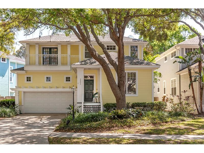 Located just three doors from Bayshore Boulevard and the beautiful waters of Hillsborough Bay, the private cul-de-sac community of Southpointe awaits with this beautifully appointed Key West inspired home. Step inside and be surrounded by 10' high ceilings, pristine oak floors and an open floor plan with exquisite moldings, intricate columns and great natural light. The art lover will appreciate the many lighting enhancements which encourage the display of your favorite works of art; a variety of living spaces- family room, living room, formal dining and breakfast room - provide plenty of options for your family's enjoyment. The kitchen features amenities that include 42'' cabinets, an oversized pantry, under/over-cabinet lighting, black granite counters, modern stainless steel appliances including a gas range, and opens to the family room, complete with wood burning fireplace. The en-suite Master Bedroom features a walk in closet and an elegant sleeping porch complete with a whimsical swing that will make you want to curl up with a good book. Additional bedrooms are huge 14 x14 spaces with two closets each. French doors off the breakfast room lead to your tropical oasis complete with a screened lanai and solar heated pool; a separate air conditioned pool cabana, currently an office, can be used as an outdoor retreat, tiki bar or playroom. New roof, Hardie Board siding with new exterior paint, pool pump and salt water chlorinator make this home move in ready!