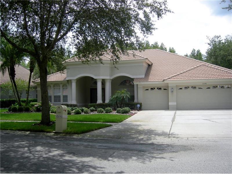 This Elegant Home is situated on a Nicely Landscaped Deep Conservation Lot. There are 5 Br or 4 BR plus an Office or Den, 3 Full Baths and a 3 Car Garage. The Open Plan has high ceilings and feels spacious and welcoming. Double Entry Doors open to the Formal Living Area with Arches and a Formal Dining Room. A  Generous Size  Fully Equipped Kitchen includes Maple Cabinets, Corein Countertops and Stainless Appliances, an Island, Desk Space and a Walk-In Pantry. Enjoy Breakfast in the Nook overlooking the Pool and Garden. The Laundry is adjacent to the Kitchen and has counter space and cabinets.  The Master BR has a Tray Ceiling and sliders open to the Pool. The  Bath features a Garden Tub, Separate Shower, His and Hers Sinks, and Linen Closet.  Split Bedrooms include a Jack and Jill, and the 4th BR-Bath Combo is a perfect Guest or Mom-in-Law Suite. The Interior is Freshly Painted. Enjoy relaxing on the under truss Lanai and a dip in the Salt Water Pool. Or Barbeque on the outside Patio.  A 3 Car Garage also has built-in storage cabinets.  Residents can enjoy the Beautiful Arbor Greene Community Center with a Workout Room, 2 Pools, Tennis Courts, Snack Shack. Guarded Main Entry and Gated Access to the Estuary.