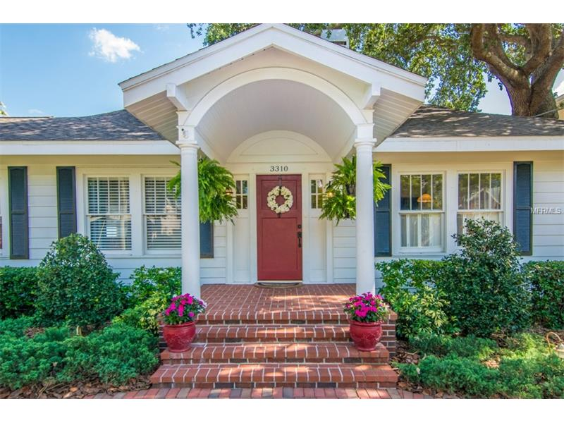 "This renovated 5/4 pool home sits on graciously landscaped 109x140 lot, more than dbl average 50-ft lots in this Bayshore Beautiful neighborhood. 3,300-hsqft property includes 1-story 4/3 main house and 1/1 guest house w/private entrance. Thoughtfully expanded to blend w/original bungalow style, home boasts oak wood floors, 2 wood-burning fireplaces, and 20x24 great room w/custom built wall unit and window seats w/storage, and French doors opening to pool. Thermador appliances incl. custom panel fridge/freezer, microwave, dbl ovens; Bosch gas range, Jenn-Air dishwasher; custom wood cabinets; slate floors; granite counters, tile backsplash, breakfast bar and walk-in pantry w/wood shelves. Oversized master has French doors to deck and backyard, and deep walk-in closet. Crown molding, 7.5"" wood baseboards, custom columns in kitchen and brick porticoes give home abundance of charm. 17x24 guest house has wood floors, kitchenette and full bath over garage. Home's perfect for indoor/outdoor entertaining; open floor plan offers lots of natural light and tropical resort feel. Sprawling grounds incl. gas heated pool/spa. and covered brick patio leads to winding paths and picturesque lawn and garden. 2 driveways incl. circular brick front drive and 120-ft. cement drive on property's east side, offering plenty of off-street parking and room to play safely. Property is 1.5 blocks from Bayshore Blvd. No flood insurance required. Plant High School district. New roof in 2014 and HVAC in 2015.  Plumbing, wiring updated."