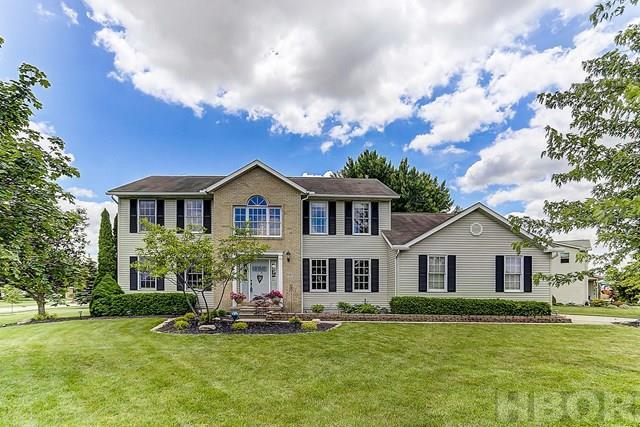 A Rooney & Associates Listing, text or call Julie Finlay at 419-889-1484 for your personal showing. Beautiful two owner home in NE Findlay Stonebridge Subdivision and Van Buren School District. Kitchen was completely remodeled in 2012. It features a Large Island for the family to gather, Granite Sink, Cherry Candlelight Cabinets, Jenn-Air Stainless Steel Appliances, including Gas Stove and Elegant Lighting. There is an abundance of room on the main floor with a formal dining room, living room, eat-in kitchen space and a family room featuring trendy sliding barn doors. The second floor master suite offers large vanity, whirlpool tub and separate shower space. Two large bedrooms and a full bath complete the area. This home has a full basement with dedicated storage space. The walls and open ceiling have been recently painted for a fresh current look & room for a 4th bedroom. The home is placed on an oversized corner lot with a new multi level deck with water feature and shade roof.