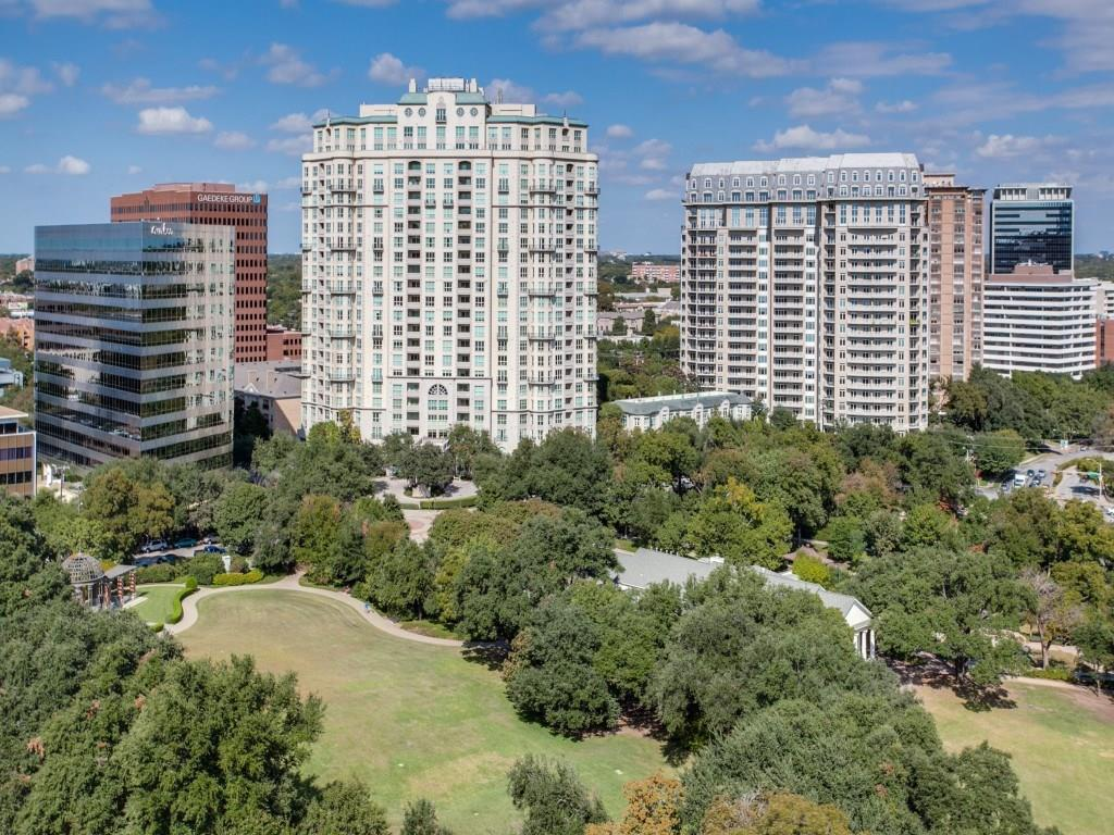 Fabulous unit in the private residences building of the Mayfair with wonderful views of Turtle Creek. Open floor plan w. updated chefs kitchen, marble island, built-in refrigerator, gas cook top and double ovens. Large master suite with spa bath, separate shower, double vanity, and large walk-in closet. Second bedroom has a private bath plus a study with custom built-ins. Top tier amenities include: concierge, pool, gym, business center, entertainment areas, etc. Walk to Turtle Creek, Lee Park, and Katy Trail. 2 reserved covered garage parking spots (just outside unit). No pets. Ready for immediate move-in.