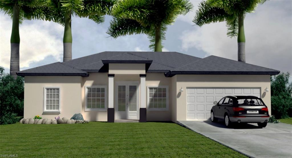 PRE-CONSTRUCTION, Spectacular Zaffiro Basic Model, open floor plan, in beautiful Golden Gate Estate, just 20 minutes from beautiful sandy Naples Beach and golf courses. Covered lanai, granite counter tops, custom wood cabinets, porcelain floor, elegant 8 feet high interior doors. This property will be built by a Naples reputable builder with one year limited warranty and a 10 years structural warranty. Upgraded high efficiency AC unit. As always, this is a high quality Saggio Construction. Something unique on this 1.14 acres lot is that the home was intentional and wisely designed to have enough space for a driveway on the east side of the property to traffic RV, truck or equipment to rear of the house. This model has also the option to upgrade to tile roof and high resistance impact glass windows and doors