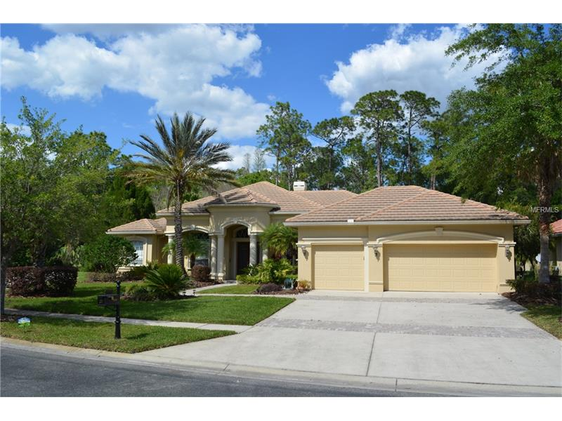 Gorgeous 5 bedroom, 3.5 bath, 3 car garage, 3800+ square foot home in Lancaster of Tampa Palms. This one-story home has a spacious layout and includes an office, formal living room, formal dining room and media room. The eat-in kitchen has granite countertops, an island, 2 ovens, gas stove, and opens up into the family room! The master bedroom is sizable with a sitting area, 2 walk-in closets, and bathroom that includes a garden tub, walk-in shower, and double vanity sinks. The media room has a wet bar, and has been equipped with professional surround-sound. Out on the lanai is the screened-in, heated, pool and spa!The backyard has a wood deck that connects to the large, fenced-in, grass area that backs up to conservation land. This home is in a convenient location,right off I-75 and Bruce B. Downs, approximately 30 minutes to downtown Tampa.