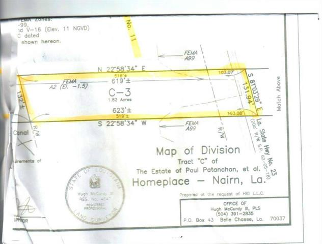 """HWY 23 TOWARDS CANAL TRACT """"C-3"""" Highway, NAIRN, LA 70050"""